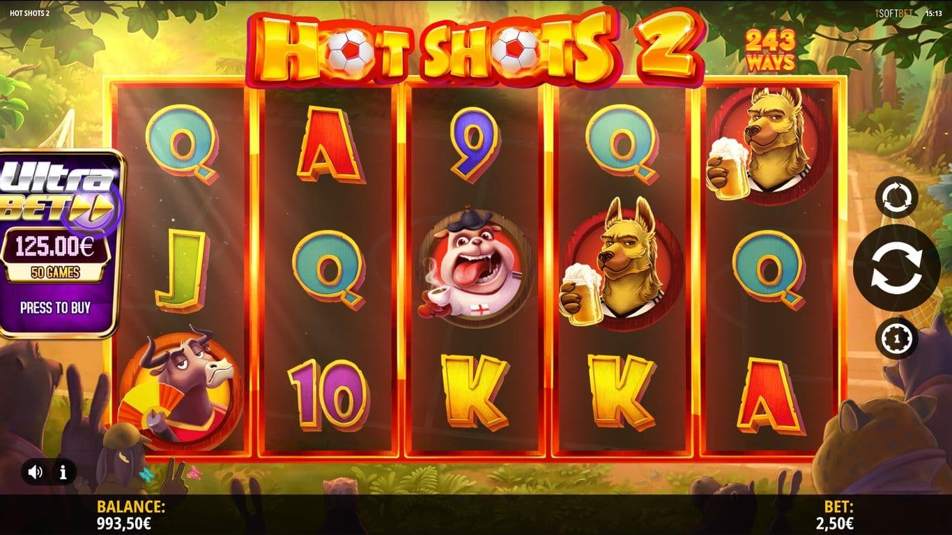 Hot Shots 2 RTP: As far as Hot Shots 2 slot is concerned, it offers RTP of 96%. Furthermore, in Ultra Bet mode, the standard play is 91.5%, but you also have a factor in 5% for the stars which take it up to 96,5%.