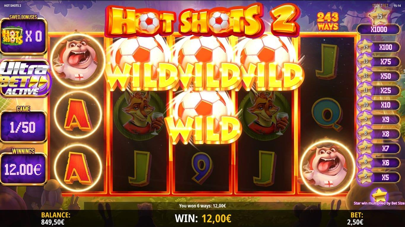 Hot Shots 2 Paytable: The action in Hot Shots 2 slot happens on 5 reels. Moreover, the game offers 243 ways to win, where winning combinations are formed by landing 3 or more matching symbols.