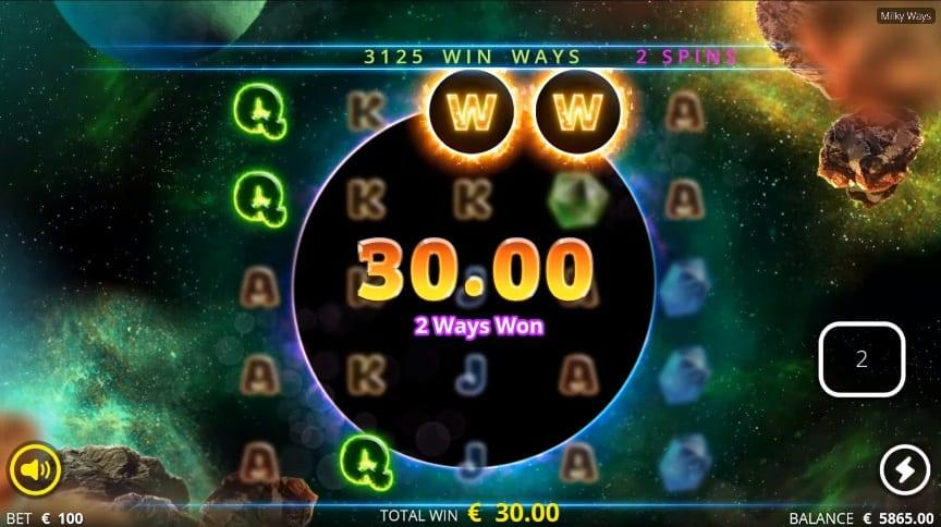 Bonus Features and Free Spins:  Milky Ways Spins feature is triggered if you land 3 or more Milky Ways Scatter symbols anywhere on the reels.