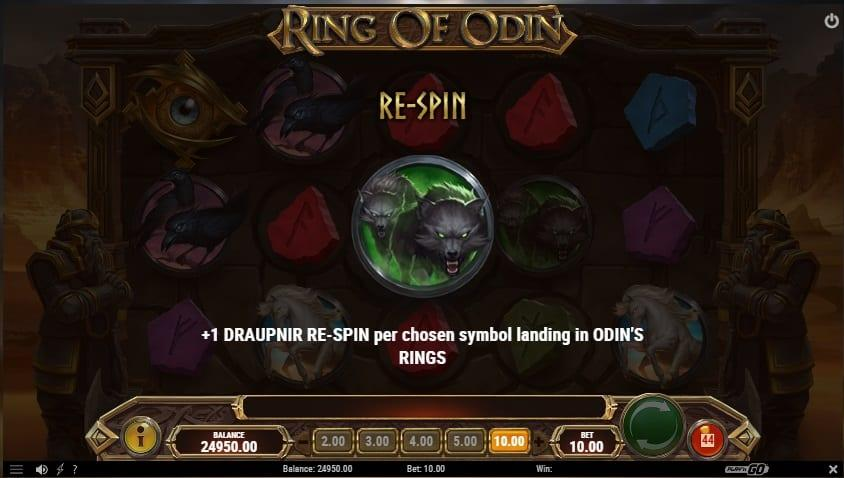 Ring of Odin Slot Paytable:  The symbols in Ring of Odin are inspired by the Norse mythology and include colorful runestones, Odin's wolves, Odin's ravens, Sleipnir that is a horse with 8 legs, Gungir which is Odin's famous sword and Odin himself.