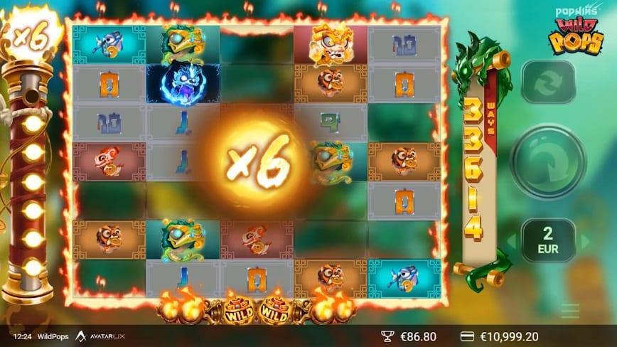 WildPops Paytable: In the paytable of this Yggdrasil's slot, you will find 15 symbols – a Wild, one super high dragon, 7 high paying creatures, and 6 low paying symbols.