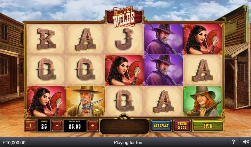 Wild West Wilds Slot Symbols:  There are two Wild symbols in this game. First, we have the standard brown Wild, which appears in both the base and the bonus game.