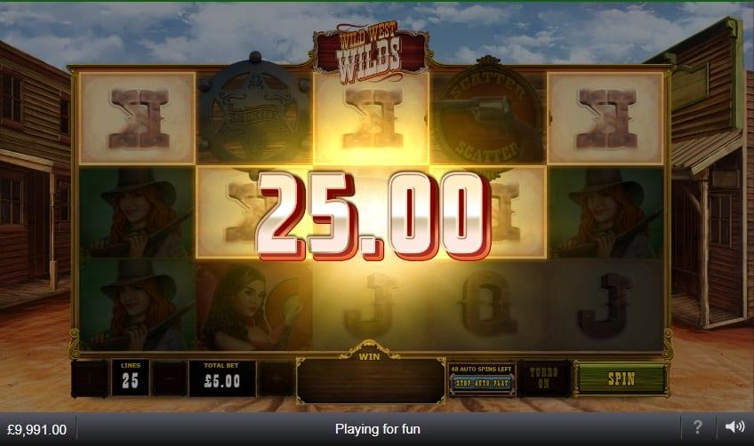 Wild West Wilds Slot Paytable: The low-value symbols in Wild West Wilds slot are your standard Royals, A, K, Q, and J, in a metallic design.