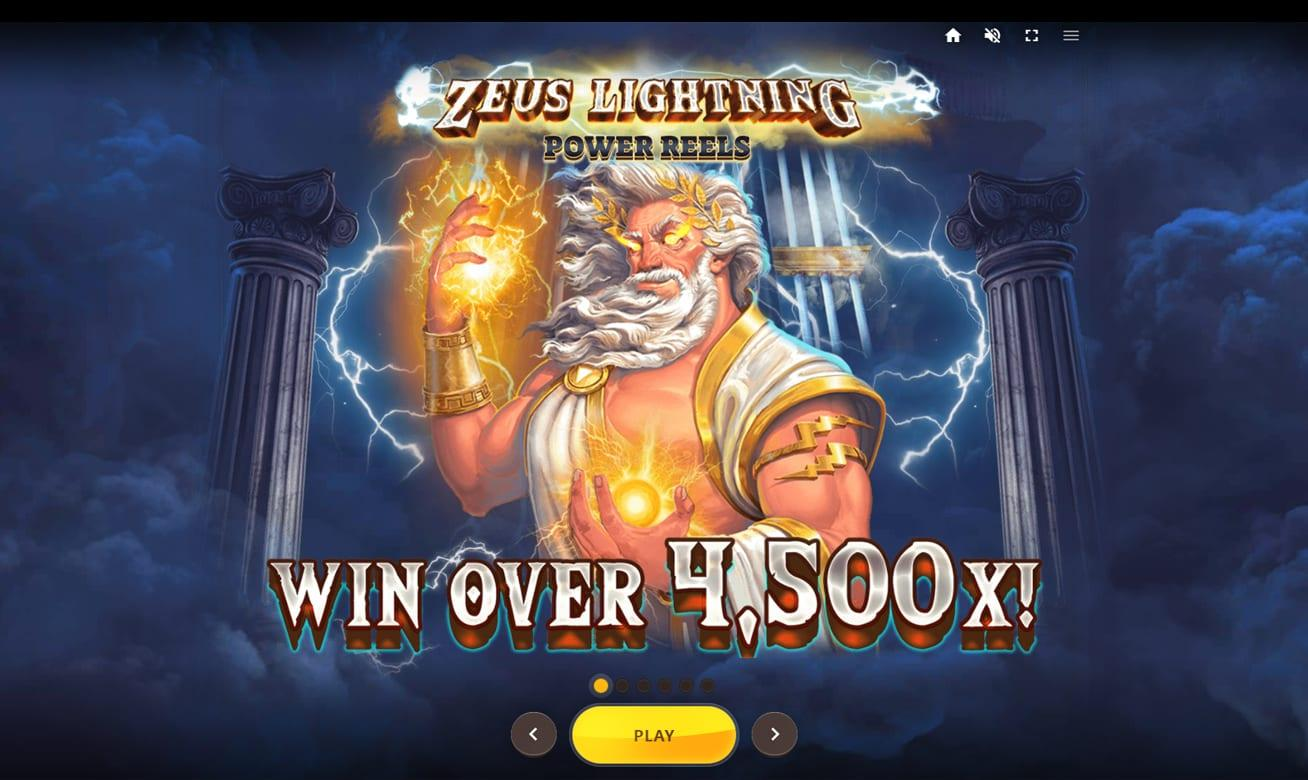 Zeus Lightning Power Reels Slot Symbols:  There are also two bonus symbols – a Wild represented by Zeus himself and a Scatter symbol that will help you trigger the Free Spins feature.