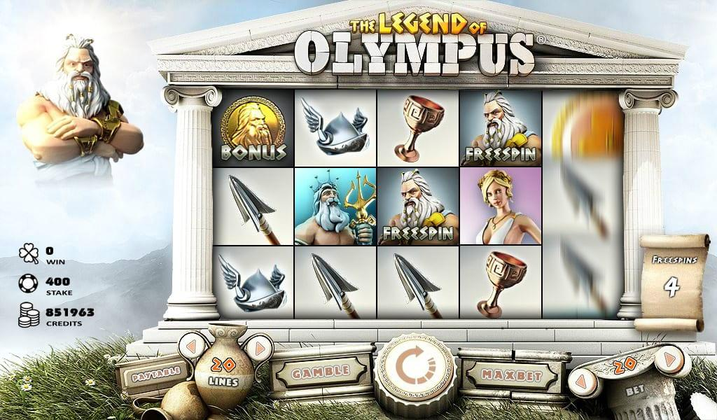 Legend Of Olympus Slot Paytable:  The low-value winning symbols are represented by shields, helmets, wine glasses, and spears.