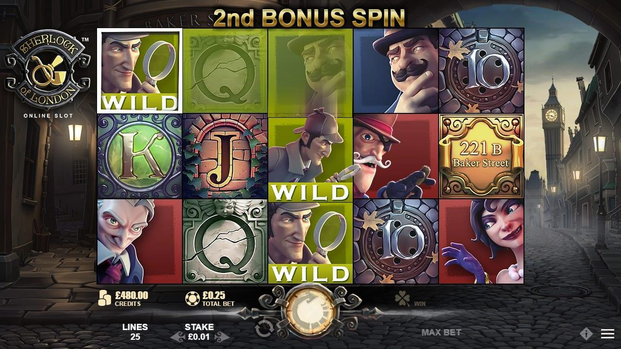 Sherlock Of London Slot Paytable: The low-value symbols on the reels are represented by a beautifully produced deck of royale flush cards – A, K, Q, J, and 10.