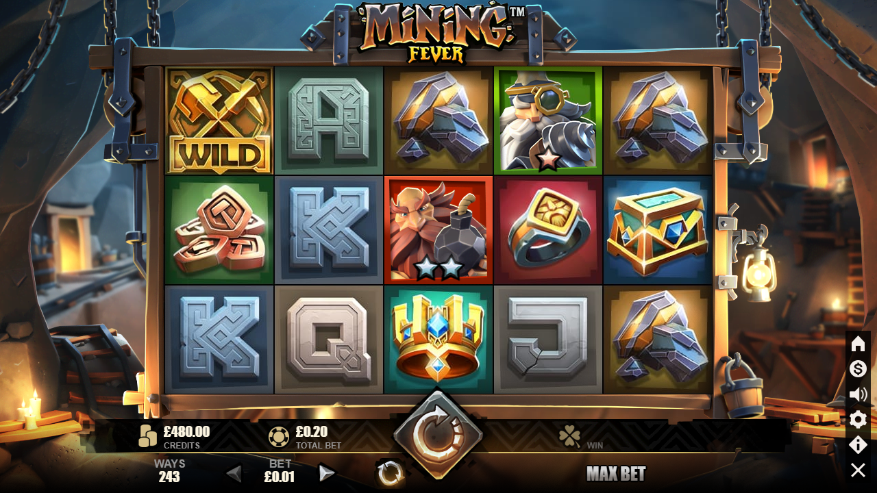 Mining Fever Slot Symbols: The first one is the Wild symbol that depicts determined Miners. This symbol guarantees you a reward of$1000 if you score 5 of them.