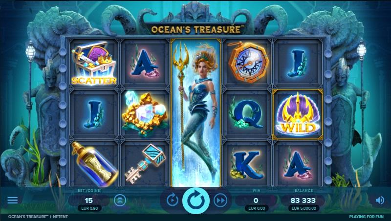 Ocean's Treasure Slot Paytable:  The low-value symbols on the reels of Ocean's Treasure include A, K, Q, and J royals, portraited in deep dark blue watercolor, with seagrass and different color gems elements all over them.