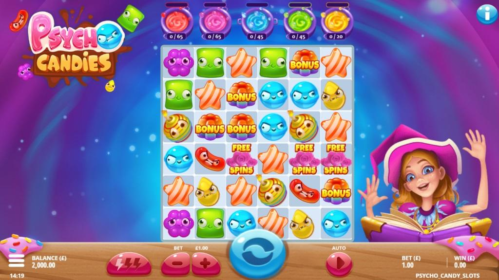 Psycho Candies Paytable: As the title suggests, you will see sweet candies over the 6x6 grid of this video slot. In general, there are 3 low-paying and 3-high paying symbols represented by different sweets.