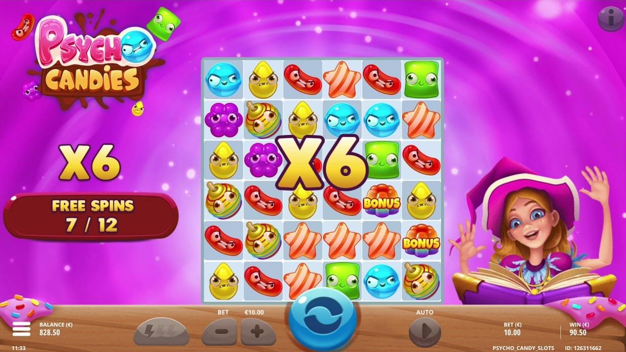 Psycho Candies Symbols: Moreover, you will see a Bonus, a Bomb, and a Free Spins symbols in the paytable of Psycho Candies. Each of these icons will help you get to a special bonus round.