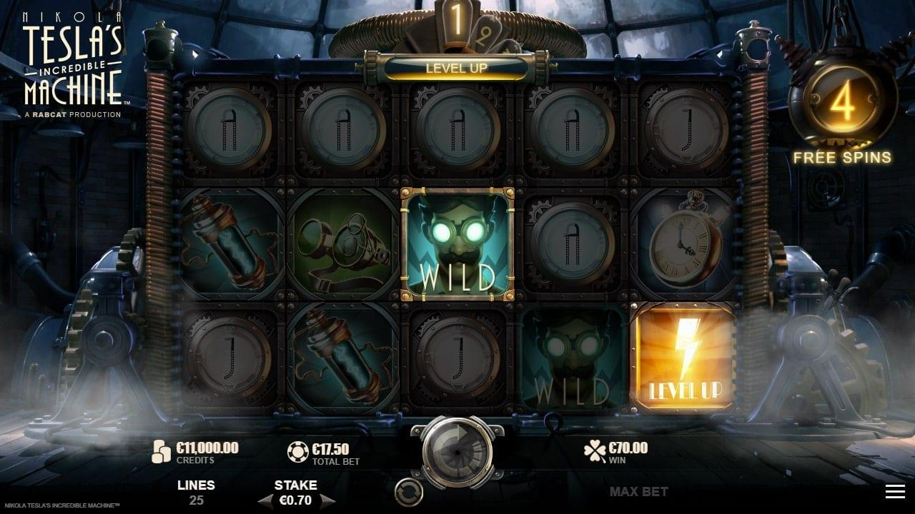 Nikola Tesla's Incredible Machine Slot Symbols: Now we will show you the special symbols. First, you have the Wild Symbol. Upon getting 5 Wild Symbols you will be rewarded 3000$.
