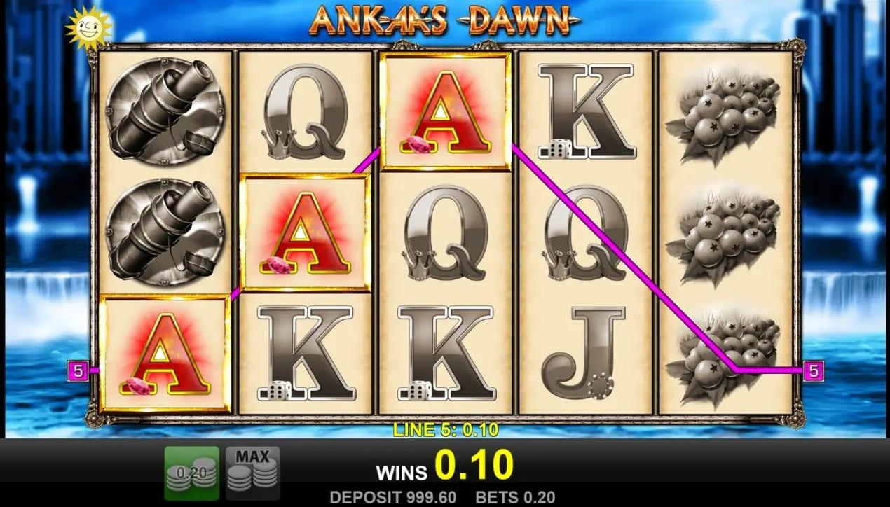 Ankaa's Dawn Symbols: With 3, 4 or 5 scatter symbols landing, you both get a prize of up to 50x the stake, and access to 8 free spins.
