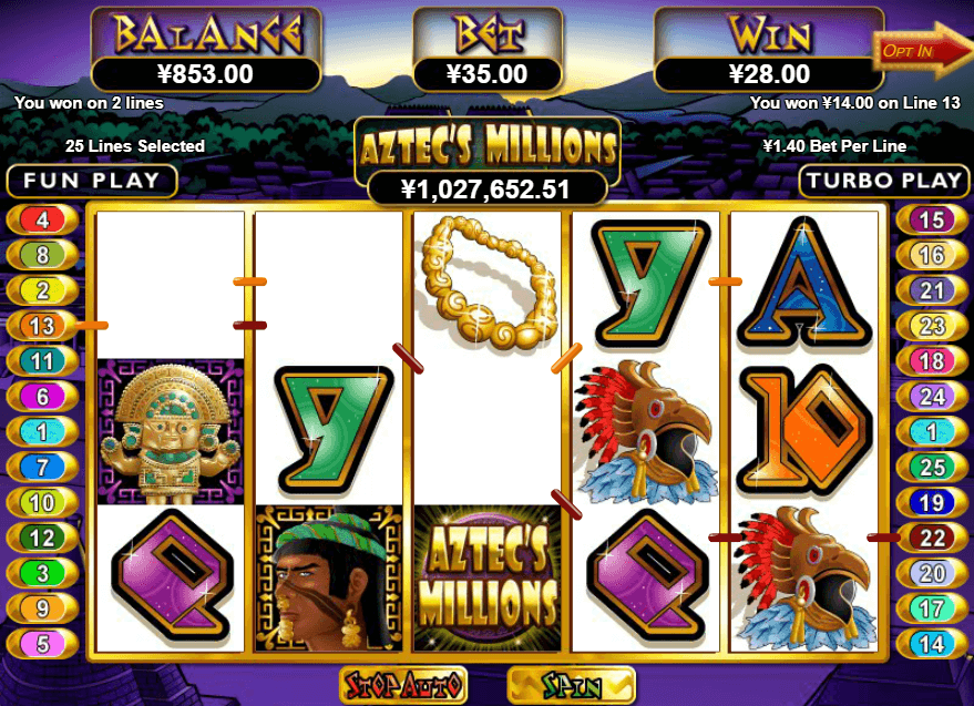 Aztec's Millions Slot Paytable: The regular symbols in Aztec's Millions include the traditional royals from 9 to A which are part of the majority of slot games but here they are colorful and successfully brighten up the design of the game.