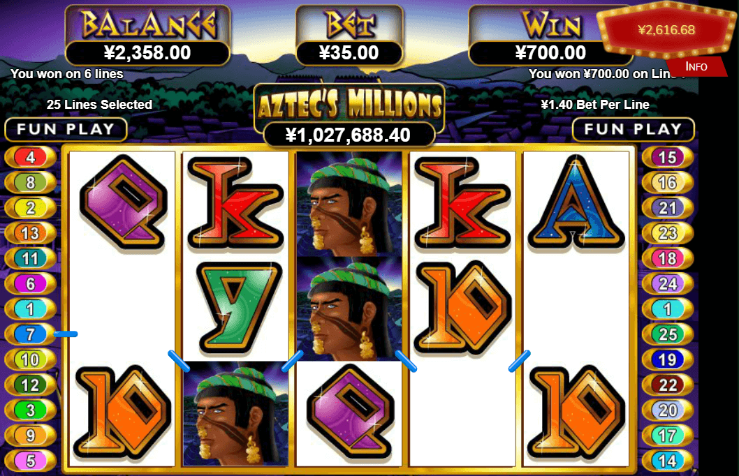 Aztec's Millions Slot Return to Player: This intriguing slot comes with an RTP of 95.00% and a fixed $0.20 bet per line, meaning the only available bet size is set at $5.