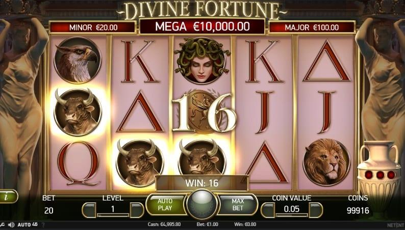 Divine Fortune Slot Paytable: Divine Fortune is set on a 5x3 play grid with 20 pay lines which pay from left to right.