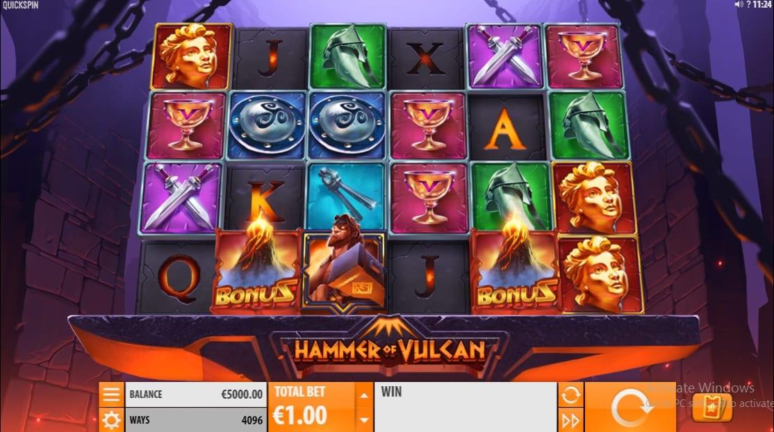 Hammer of Vulcan Slot Return to Player: Hammer of Vulcan has a high return to player rate of 95.81%, which implies that you will often land well-paying combinations.