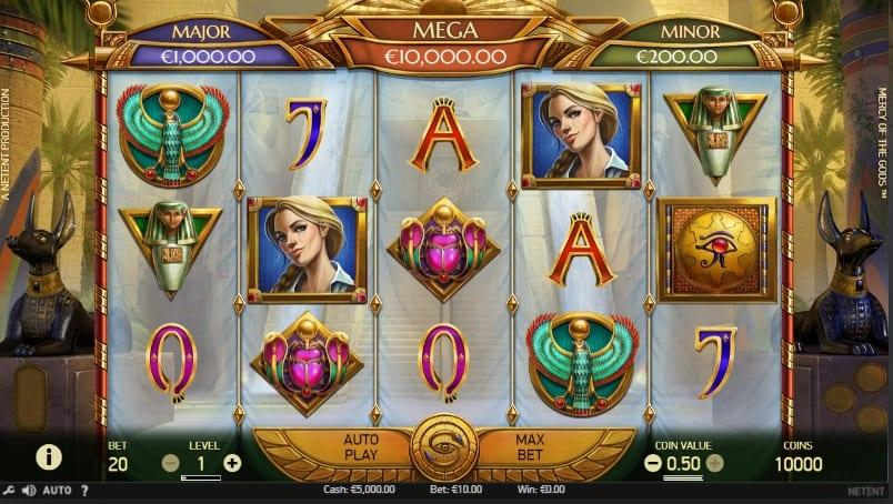 Mercy of the Gods Slot Return to Player: This NetEnt title comes with an RTP of 96.46%, which is considered very high for a progressive slot. You can place bets as little as $0.20 or as big as $100 and win up to $16,000 in the base game.