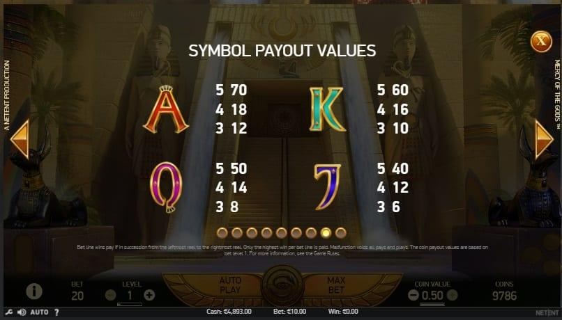 Mercy of the Gods Slot Paytable: In the paytable of Mercy Of The Gods you will see 4 low-paying icons that are represented by the classical card values – A, K, Q, and J.