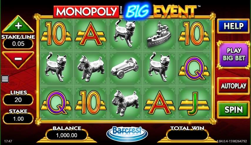Monopoly Big Event Slot Return to Player: This exciting slot has an RTP equal to 99% and you can spin away with a wager as little as $0.20 and as much as $500.