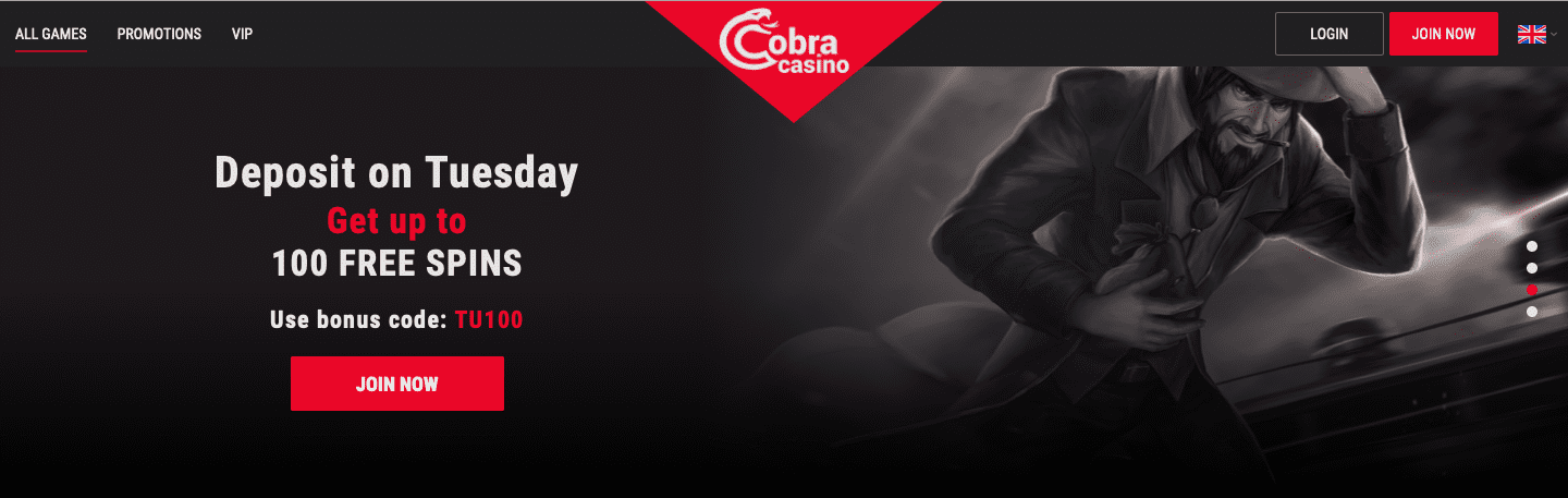 Deposit on Tuesday at Cobra Casino and Get Up To 100 Free Spins