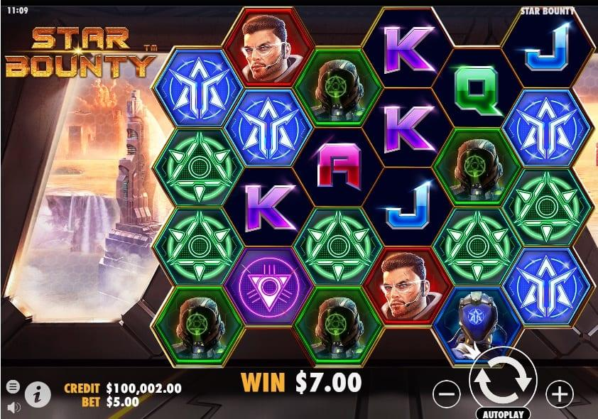 Star Bounty Slot Symbols: There are two types of Wilds – a regular one and a Missile Wild. Usually, you will see the regular Wild on reels 2, 3, 4, 5, and 6.