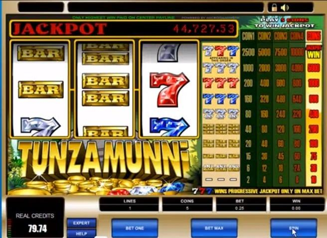 Tunzamunni Slot Return to Player - RTP: Currently, this slot game has not had a published RTP percentage that we are aware of , so we can only guess, but as most progressive slot games we assume that it is around 94-95%.