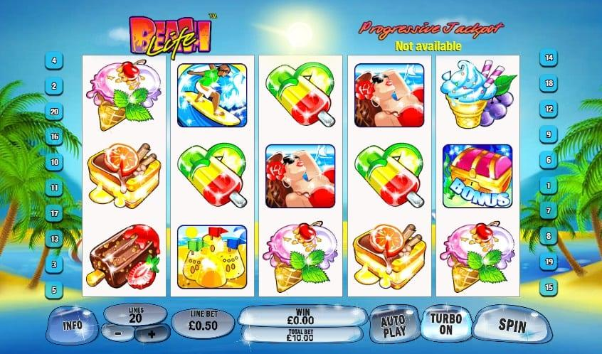 Beach Life Slot Return to Player: This Playtech game has an average RTP of 93.25% and a low to medium variance that can be affected by the number of active lines.
