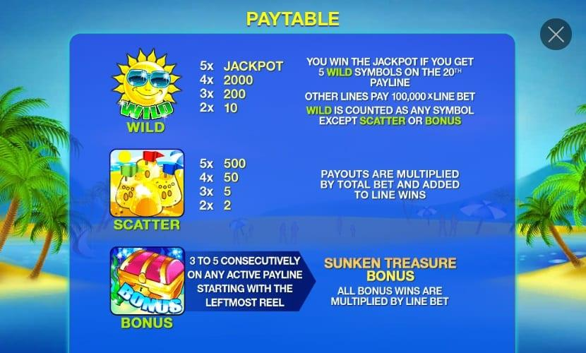 Beach Life Slot Paytable: In the paytable of Beach Life Jackpot, you will see 3 high-paying and 5 low-paying symbols.