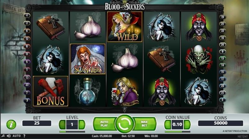 Blood Suckers Symbols: This game has lots of bloodthirsty symbols spread all over the 5 reels, the game has low payout symbols, low-mid symbols that include the Holy Bible and Magic Blue Elixir.