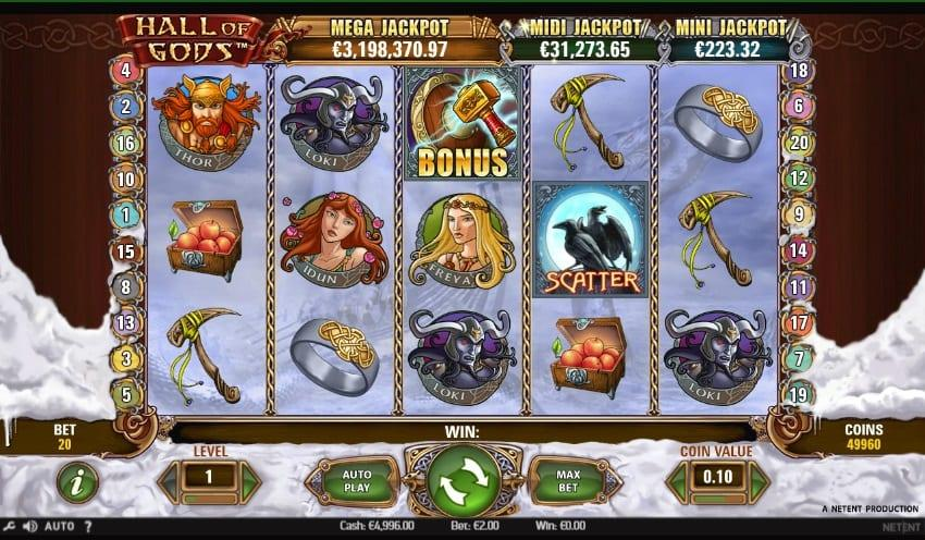 Hall of Gods Slot Symbols Explained: The theme of the slot is based on the Norse mythology, meaning that you can expect such characters on the reels.