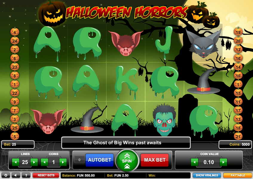 Halloween Horrors Paytable: Like many other 5 reel slots you might be familiar with, this one has quite a lot of earnings that can be made through its 25 paylines.