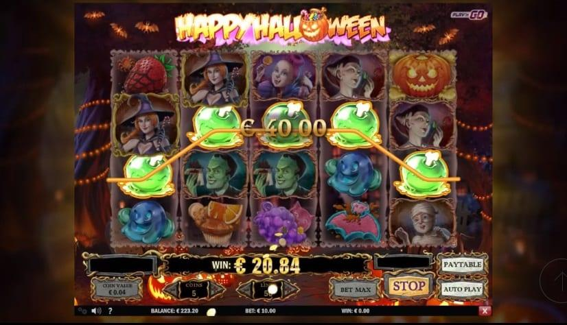 Happy Halloween Paytable: Halloween treats and eatable candy will satisfy your sweet tooth on the reels as the low paying symbols.