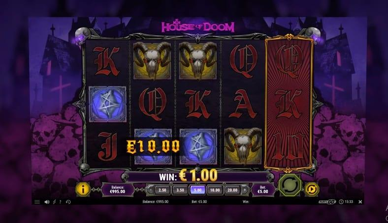 House of Doom Slot Return to Player: This Play'N Go title has a high RTP of 96.00% and a betting range that starts at $0.10.