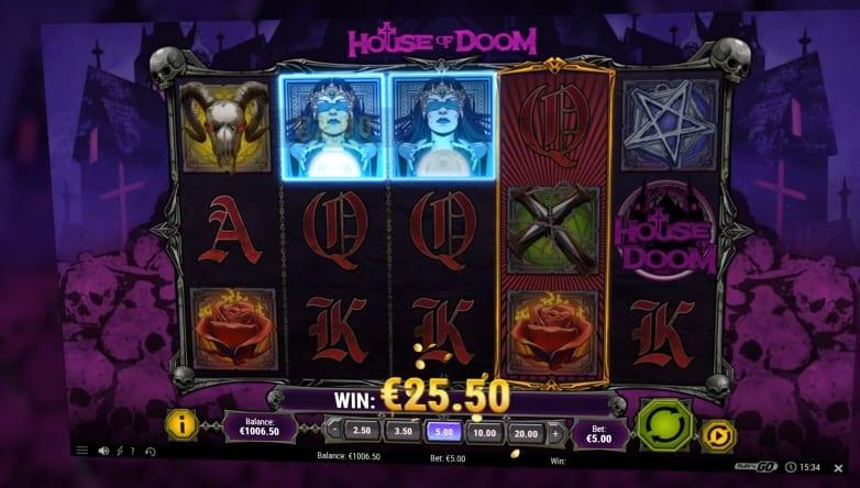 House of Doom Paytable:  The 5 low-paying icons are depicted by classical card values like A, K, Q, J, and 10.