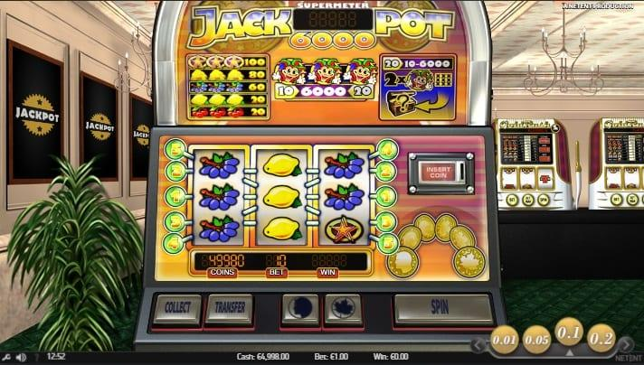 Jackpot 6000 Paytable: There are 6 different symbols on the reels of Jackpot 6000, which include fruits that look delicious, such as Grapes, Lemons, and Cherries.