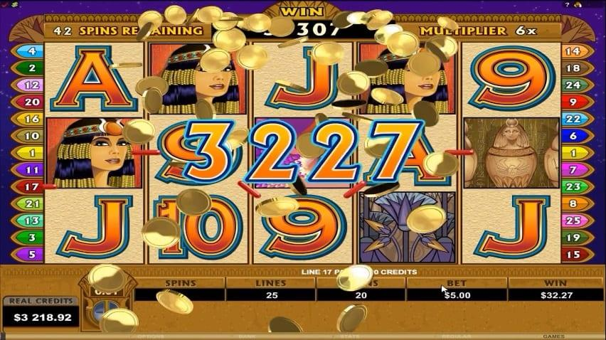 Mega Moolah Isis Slot Paytable:  The paytable of Mega Moolah Isis comes with 5 high-paying and6 low-paying symbols that are designed in accordance with the Egyptian theme.