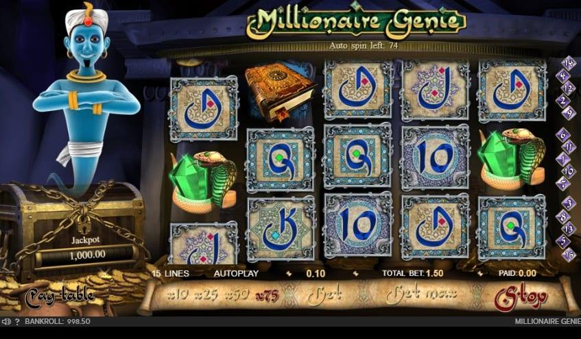 Millionaire Genie Slot Return to Player: Currently, this game holds a standard RTP percentage of 95% which is a little bit below the average of 96%, however we should take into account that this slot has a prgoressive jackpot.