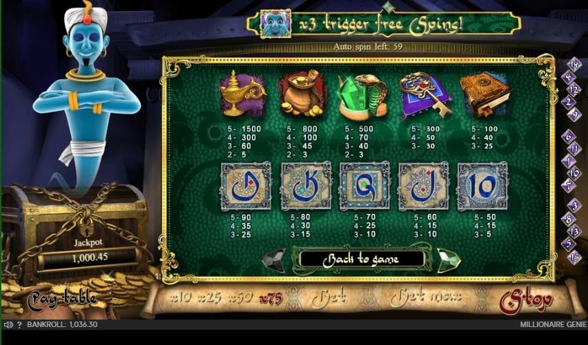Millionaire Genie Slot Paytable: This game truly holds a one of a kind design that sports state of the art graphics which present a genie floating above a treasure chest on the reels, the game itself has a oriental feel to it.