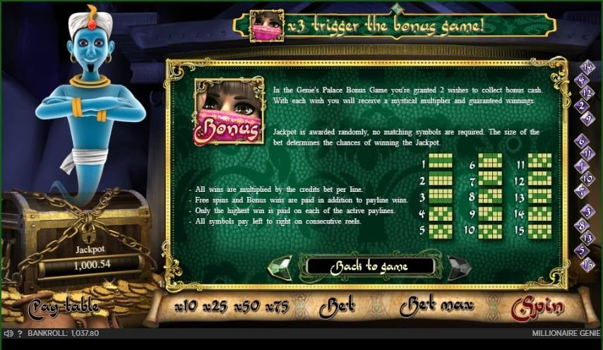 Millionaire Genie Slot Symbols: The symbols displayed on the reels of this unique game are inspired by Arabic culture and there are exactly 10 different icons on the reel, which of course include the classic J, Q, K, A and 10.