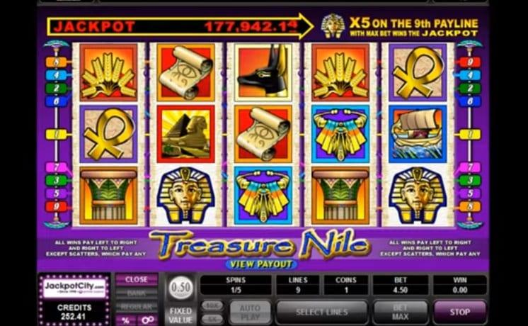 Treasure Nile Slot Paytable: Treasure Nile Progressive Jackpot Slot doesn't come with the traditional Royal symbols as Microgaming spent a lot more time into the game's details.
