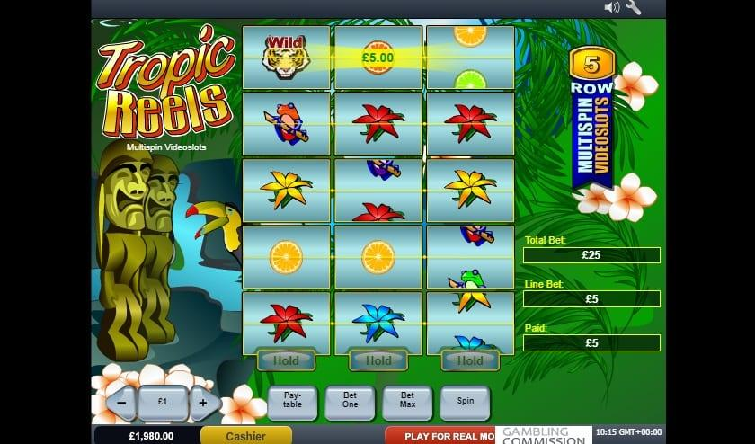 Tropic Reels Slot Return to Player - RTP: This breathtaking slot game has an exceptional RTP equal to 98.95% and you can spin away with a wager ranging between $0.25 and as much as $1,500.