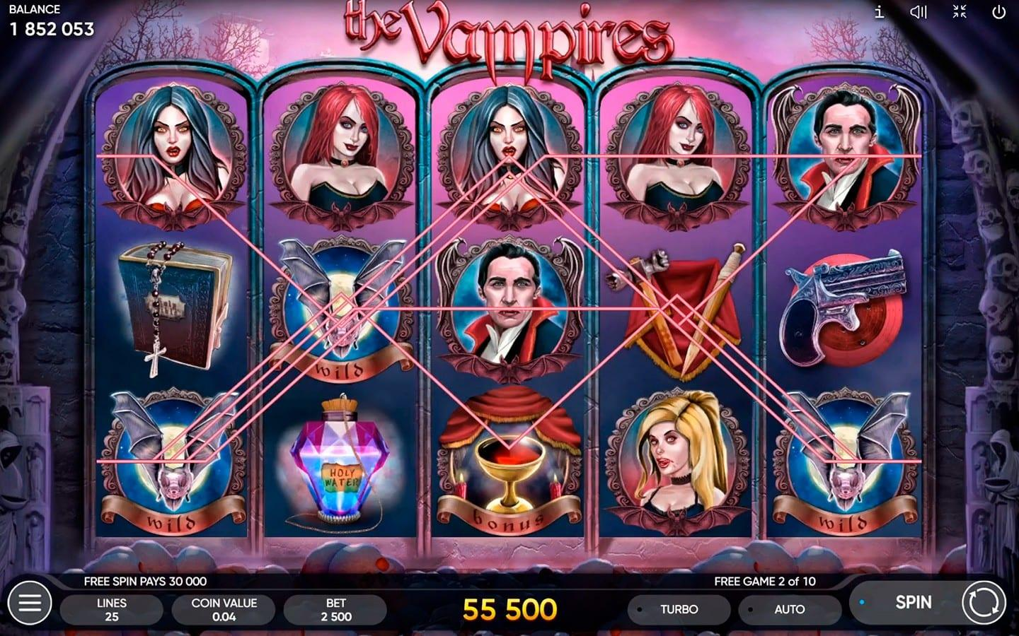 Bonus Features and Free Spins: You have to know that every prize of free spins is multiplied x3. Enjoy The Vampire Slot Machine and be happy on your way to the bank!