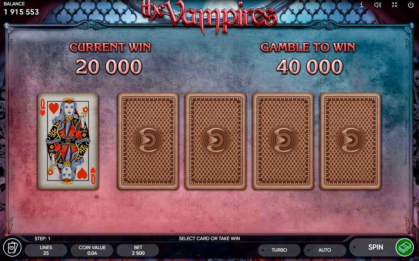 The Vampires Paytable: The Vampire Slot Machine has a good diversity of winning symbols. High-win symbols are beautifully depicted as different Vampires.