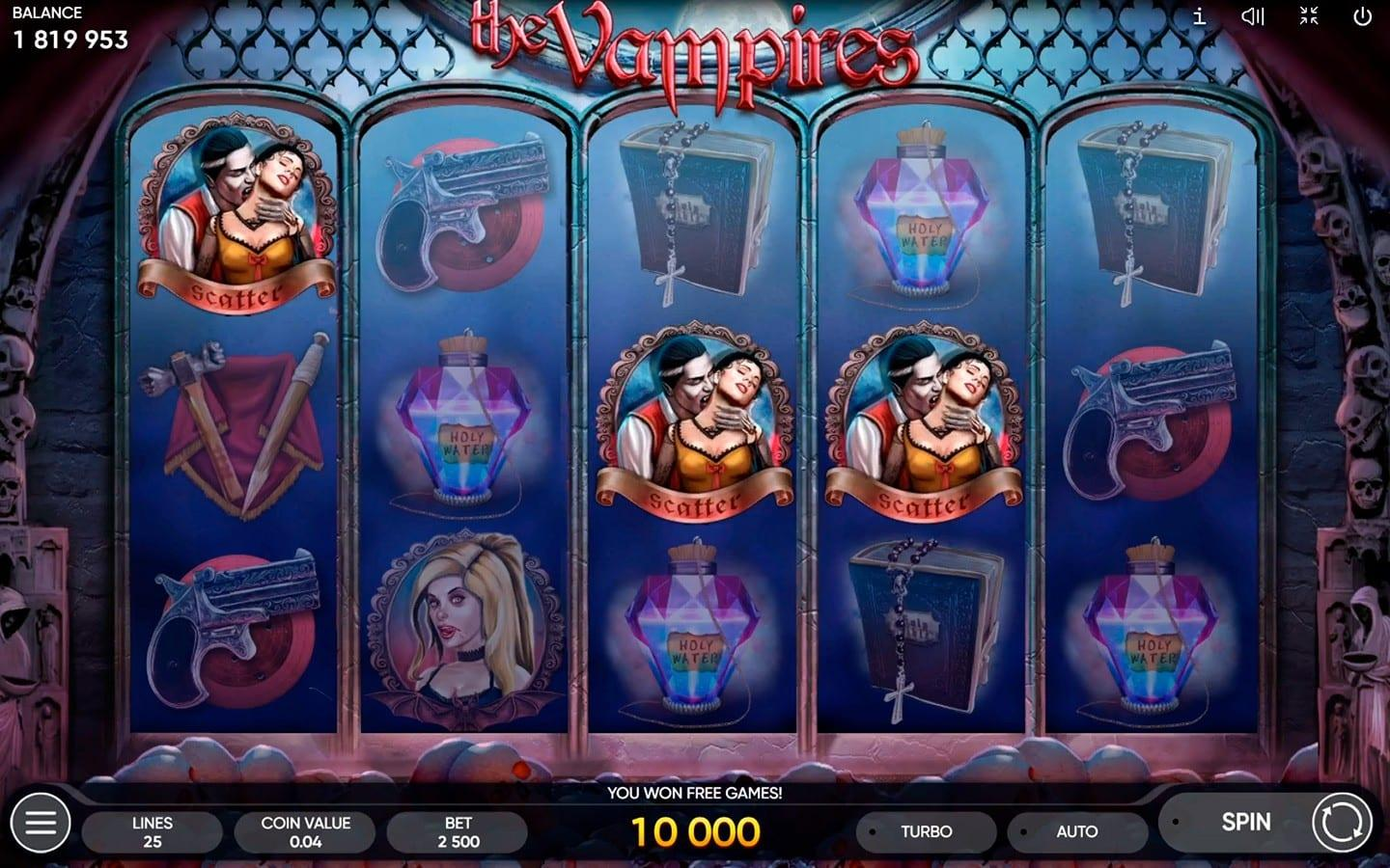 he Vampires Slot Return to Player: The Vampire Slot Machine has a Return to Player percentage of 96.00% and it has an excellent payout.
