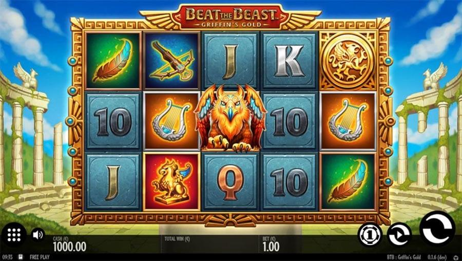Beat the Beast - Griffin's Gold Slot Symbols: As a Scatter, The Griffin Emblem golden symbol pays out 300 coins for 3 of a kind on an active payline, and up to 20,000 coins for 5 of a kind.