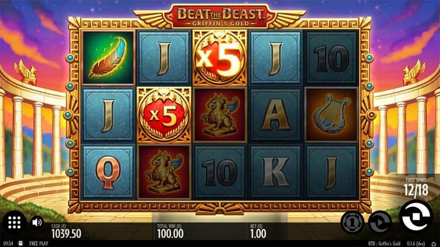Beat the Beast - Griffin's Gold Slot Paytable: Paytable  The first stack of symbols at Beat the Beast – Griffin's Gold slot paytable are represented by the standard Royals, A, K, Q, J, and 10, elegantly carved on blue stones.