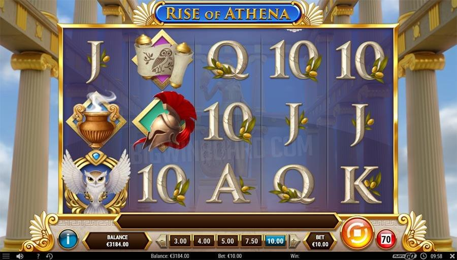 Rise of Athena Slot Symbols: Like any other slot game, this slot also has low and high paying symbols, but there are also the traditional A, K, Q, J, and 10 royals.