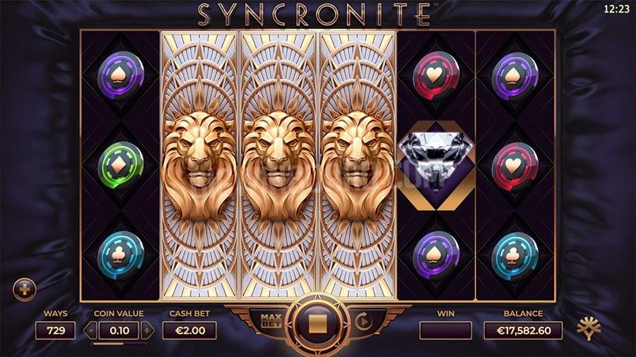Syncronite Splitz Slot Symbols: You can expect to land four high paying symbols. These include Diamond, Gold Bell, Cherries and Blue Dice. In addition to this, there are four lower value Casino chips (Red, Green, Purple, and Blue).