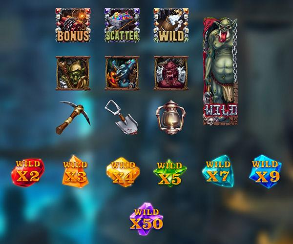 Goblin Mine Symbols: On the reels, you will be able to see different and amazing symbols. These consist of maps, pickaxes, bombs, silver, gold, rubies, and diamonds.
